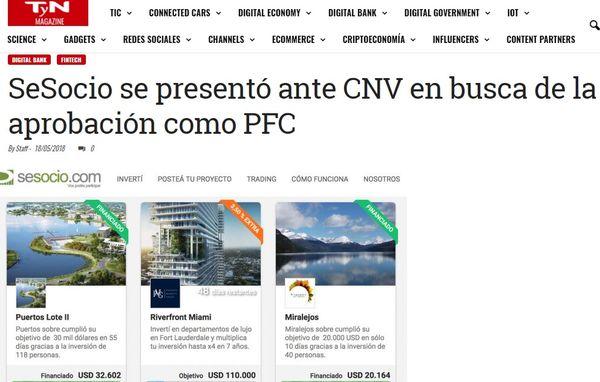 SeSocio se presentó ante CNV en busca de la aprobación como PFC