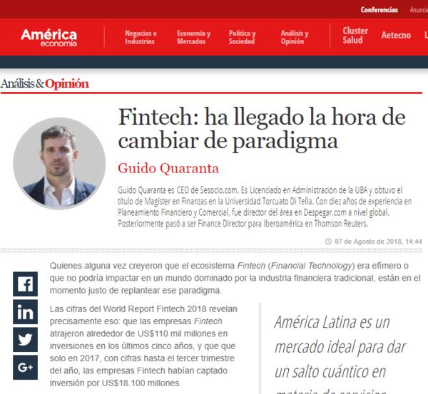 Fintech: ha llegado la hora de cambiar de paradigma