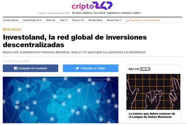 Infobae: Investoland, la red global de inversiones descentralizadas