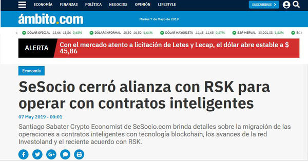 Scope: SeSocio closed alliance with RSK to operate with smart contracts