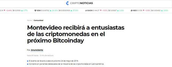 Montevideo recibirá a entusiastas de las criptomonedas en el próximo Bitcoinday